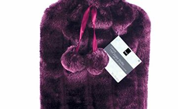 KEPLIN 2 Litre Hot Water Bottle with Cosy Warm Fluffy Cover Premium Faux Fur Bag Large Relaxation Bottle 2L