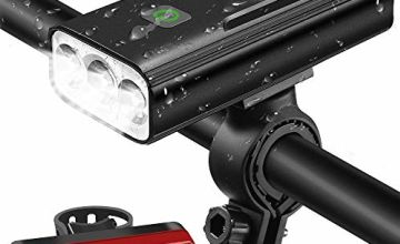 OCOOPA Bike Lights Set Rechargeable, 5200mAh USB Bicycle Lights 1200 Lumens Super Bright, 3 Modes LED Bike Lights Front and Back Set, IPX5 Waterproof Headlights Fits All Bicycles