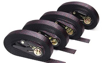 Audew 4 x Ratchet Tie-Down Straps 25mm x 6M, Endless Loop Lashing Straps, Heavy Duty Ratchet Strap, Webbing Strap Cargo Tie-Downs for Cam Buckles, Car, Trailer, Luggage, Household Goods