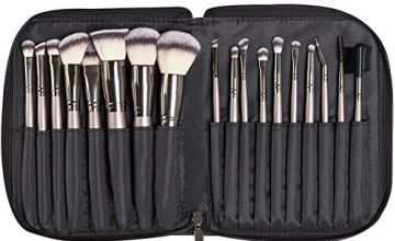 KRAUMETIK Makeup Brushes 18 Pieces Professional Cosmetic Brushes Kit with Black Pu Bag