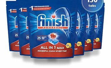 Finish All in 1 Max 150 Dishwasher Tablets Lemon and Regular (Pack of 6)