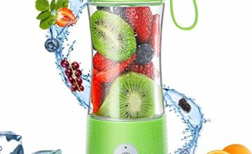TOPESCT Little Portable Blender, Personal Mini Blender for Smoothies and Shakes, Handheld Juicer Machine 13oz USB Rchargeable Smoothie Maker, Ice Small Blender Mixer Home/Office/Sport/Outdoors-Green