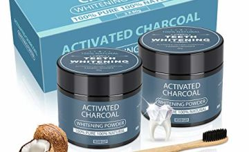 Activated Charcoal Teeth Whitening Powder with 2 Bamoo Toothbrushes - AutoSmile Upgraded Organic Coconut Powder for Stain Removal and Your Freshens Breath,100% Natural(2 Pack/4.2Oz)