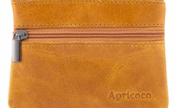 APRICOCO RFID Blocking Coin Purse Wallet and Pouch for Women and Men, Leather Pocket Wallet Credit Card Holder and Coin Pocket Purse with Zipper and Gift Box