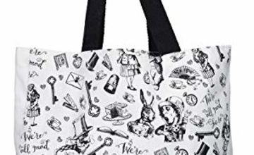 Save on V&A Alice in Wonderland All Over Print Shopping Bag, Cotton, White, 38 x 43 cm and more