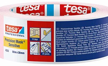 Tesa 4333-00021-02 Precision Sensitive,Razor Sharp Edge and Low Tack Masking Tape for Indoor Painting and Decorating, Residue Free Removal, 50 m x 50 mm, 50mm