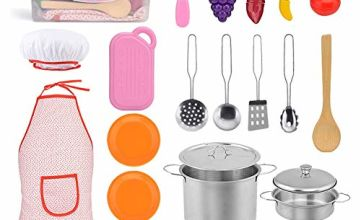 Exqline Kitchen Pretend Play Accessories, Kitchen Toy Cookware set, Stainless Steel Cookware Pots and Pans, Apron and Chef Hat, Cooking Utensils, Cut Vegetable Play Accessories for Kids, Toddlers