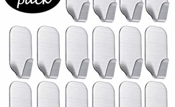 16 Pack of Self Adhesive Hooks, SMALUCK Stainless Steel Adhesive Wall Hanger for Robe, Coat, Towel, Keys, Bags, Home, Kitchen, Bathroom, Water and Rust Proof
