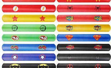 Ucradle Slap Bands, 108 PCS Superhero Slap Bracelets Fun and Super Slap Wrist Bands with 18 Differents Colorful Super Man Patterns Party Bag Fillers Gift Party Favours for Kids Girls Boys
