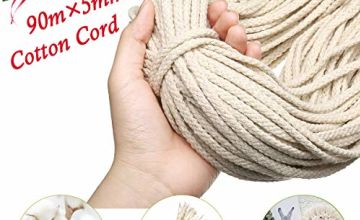 GEMITTO 90m x 5mm Natural Macrame Cotton Rope, Cord Craft Knitting Thread, String Wall Hanging Plant Hanger, Garden Flower Pot Holder Beige