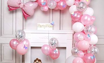 PartyWoo Pink Balloons, 100 pcs Pack of Pink Balloons, Pastel Pink Balloons, Silver Confetti Balloons, White Balloons, Bow Tie Foil Balloon and Laser Butterflies for Girl Baby Shower, Girl Birthday