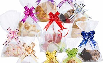 """100PCS Clear Cellophane Treat Bags 6"""" X 10"""" AUERVO Clear Resealable Flat Cello Bags Sweet Party Gift Bags OPP Plastic Bag with 100PCS Mix Colors Pull Bows for Candy, Soap, Cookie, Valentine Chocolates"""