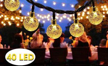 Solar String Lights Outdoor, DeepDream 40 LED 7.5M/25Ft Waterproof Festival Garden Lights Crystal Ball Decorative Fairy Lights for Garden Patio Yard Home Wedding Christmas Parties,Warm White