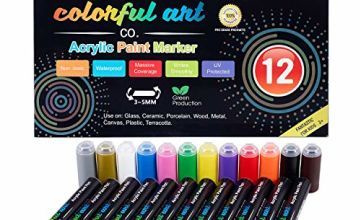 Paint Pens - Premium Acrylic Paint Pens & Rock Painting Kit for Painting Rocks, Pebbles, Glass, Ceramic, Porcelain. Permanent Water Based Waterproof Markers with 3-5mm Reversible Round & Chisel Tip