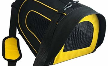 PET MAGASIN Soft-Sided Pet Travel Carrier (Airline Approved) for Cats, Small Dogs, Puppies and Other Pets by (Black & Yellow)