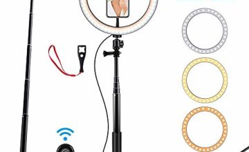 """Prtukyt 10"""" Ring Light with Tripod Stand Selfie Stick & Cell Phone Holder for Live Stream Youtube Video Makeup Vlog Photography Compatible with iPhone Android (10"""")"""