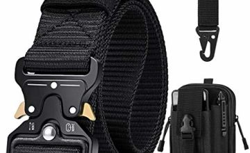 BESTKEE Men Tactical Belt 1.5 Inch Heavy Duty Belt, Nylon Military Belt with Quick-Release Metal Buckle, Gift with Tactical Molle Pouch and Hook