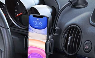 Car Phone Holder, Mpow Dashboard Windscreen Car Mount Cradle with Long Arm Strong Sticky Gel Suction Cup Anti-Shake Stabilizer Compatible iPhone 11 XS Max Xr x 8 Plus 7 Plus, Galaxy, Moto and more