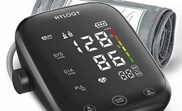 HYLOGY Blood Pressure Monitor, Upper Arm Blood Pressure Machine with Large LED Touch Screen and Voice Broadcast, Adjustable Large Cuff with 2 Users 180 Memories, Support Type-C Power Supply