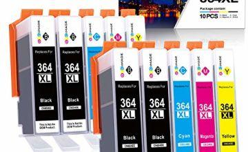 GPC Image 364XL (10Pack) Compatible Ink Cartridges for HP 364 364-XL for HP Photosmart 5510 5520 5522 5520 6520 B8550 C5388 7510 7520 5524 6510 5515, HP Officejet 4620, HP Deskjet 3070A(4B/2C/2 M/2Y)