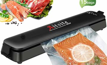 Vacuum Sealer, Aitsite Automatic Food Sealer Machine, 4 in 1 Portable Packing Machine with 15 Premiun Seal Bags for Meat, Eggs, Vegetables, Fruit Storage (Black New)