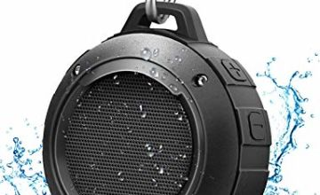 Portable Bluetooth Speaker, LENRUE IPX5 Waterproof Outdoor Shower Audio Speakers with HD Stereo, 8 Hour Playtime, Bulit-in Mic, Carabiner, Suction Cup, for Sport, Hiking, Camping, Beach, Pool