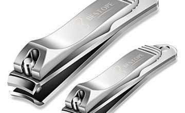 Nail Clippers, BESTOPE 2 Pcs Nail Cutter Set Sharpest Stainless Steel Fingernail + Toenail Kit Perfect for Men & Women