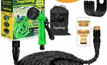 Suplong Garden Hose Expandable Water Pipe 3 Times Expanding 100ft Flexible Magic Hose Pipes Reel With 7 Function Spray/Brass Connector Fittings/Hose Hanger/Storage Bag (Black)