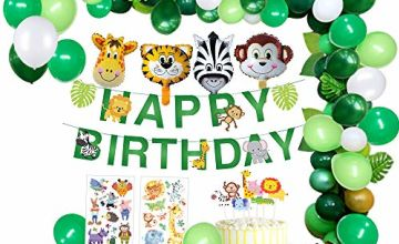 MMTX Jungle Birthday Party Decoration Boys-Happy Birthday Banner with Palm Leaves Latex Balloons and Safari Forest Animal for Boy Birthday Baby Shower Hawaiian Decor(65pcs)
