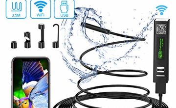 Wifi Endoscope Camera, USB Endoscope Inspection Camera IP68 Waterproof Wireless Borerscope 2.0 Megapixels 1200P HD Snake Camera with 8 LED Lights for Android, iPhone,IOS, Samsung, MAC, Laptop, Windows