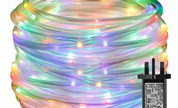 LE 10m 100 LED Rope Lights, 8 Modes IP65 Waterproof, Power Adapter Included