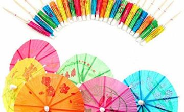 SHATCHI 144 x Paper Umbrella Cocktail Sticks Parasoles Tropical Party Food Drink Decorations Picks, Assorted