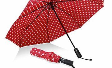 Eono by Amazon - Folding Umbrella Compact Travel Umbrella Strong Durable Rain Umbrella Portable Umbrella with Teflon Coating - Reinforced Canopy, Ergonomic Handle, Auto Open/Close