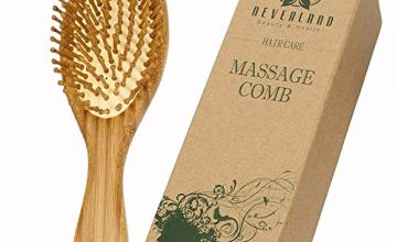 Neverland Wooden Hair brush, Detangling Anti-Static Hair comb for Curly, Thick or Long Hair, Metal bristle Wooden Brush for Smoothing Hair and Massaging Scalp