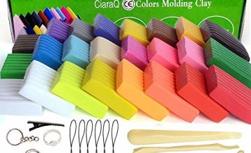 24 Colors Oven Bake Polymer Clay, CiaraQ Nontoxic Colorful Clay Modelling Clay DIY Soft Craft Clay Set Best Gift for Kids
