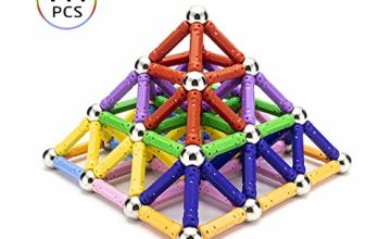 LocoTime 144 PCS Magnetic Sticks Construction Set toys and Educational Stacking Toys for Adults and Toddlers (Children over 6 Years Old)