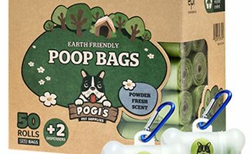 Pogi's Poop Bags - 50 Rolls (750 Dog Poo Bags) +2 Dispensers - Leak-Proof, Biodegradable Poo Bags for Dogs
