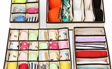 4 Sets Underwear Drawer Organiser Wardrobe Organisers, Foldable Drawer Dividers Storage Boxes for Clothes Bras Socks Ties Scarves, Antibacterial Dustproof Odorless Bedroom Fabric Small Storage Box