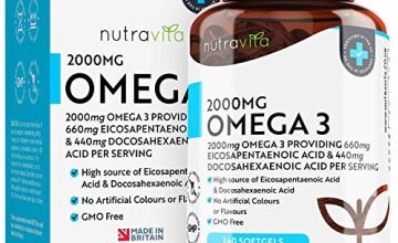 Omega 3 Fish Oil 2000mg 240 Softgel Capsules - Pure Fish Oil – 660mg EPA & 440mg DHA per Serving – Made in The UK by Nutravita