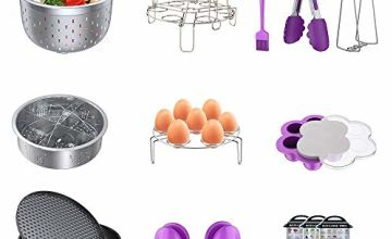Instant Pot Accessories Set, Pressure Cooker 17 Pieces Kit Compatible with 5/6/8Qt Steamer Baskets Springform Pan Egg Rack Oven Mitts Brush Tongs Silicone Mold Dish Plate Clip Mat Magnetic Cheat Sheet