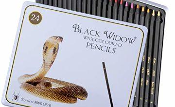 Black Widow Pencils - Premier Colored Pencils - A Unique 24 Piece Colour Pencil Set For all Your Colourful Creations.