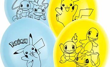 Amscan International Pokemon Amscan 9904826 11in Latex Balloon 4 Sided Print 6 Pack