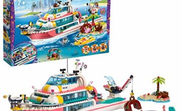 LEGO 41381 Friends Rescue Mission Boat and Lego Island Toy for Kids with Olivia, Andrea and Mia Mini Dolls, plus Robot and Whale Figures, Sea Life Rescue Series