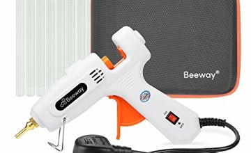 Beeway Hot Glue Gun 100W - inc. 30 Pack 11.2mm x 150mm Glue Sticks, Extra Long Copper Nozzle, Compact Storage Carrying Case - Professional
