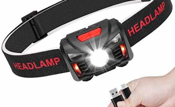 Linkax LED Head Torch USB Rechargeable Headlamp Headlight Super Bright Waterproof Lightweight Comfortable for Running Fishing Camping Hiking Kids