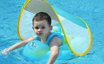 Free Swimming Baby Inflatable Baby Swimming Float with Safe Bottom Support and Retractable Fabric Canopy for Safer Swims(Upgrade, XL)