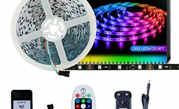 DreamColor LED Strip Light SELIAN 5050 32.8ft/10m LED Lighting Strips Sync to Music RGB Flexible Rope Light with 12V Power Supply Non-Waterproof 300LED Strip Lighting for Home Indoor Decoration