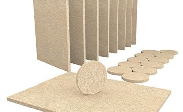 Furniture Felt Pads - 20 Piece Furniture Pads, 8 Large15x11cm Felt Pads & 12 Large 38mm (1½ inch) Chair Leg Floor Protectors. Cut to Size Floor Protector Pads