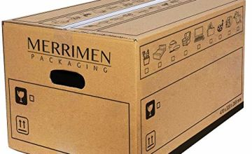 MERRIMEN Heavy Duty Double Wall Cardboard Moving and Storage Boxes with Handles (39 Litre, 26 x 32 x 47 cm)