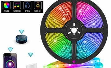 WiFi LED Strip Light,Smart Light Strip APP Controlled RGB 5050 Waterproof IP65 Compatible with Alexa Echo, Google Assistant, Decoration for Kitchen Wedding Party(Not Support 5G WiFi)